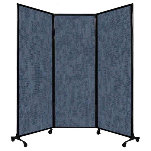 "QuickWall Folding Portable Partition 8'4"" x 7'4"" Ocean Fabric"