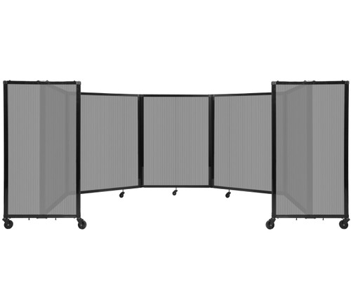 Room Divider 360 Folding Portable Partition 14' x 4' Light Gray Fluted Polycarbonate