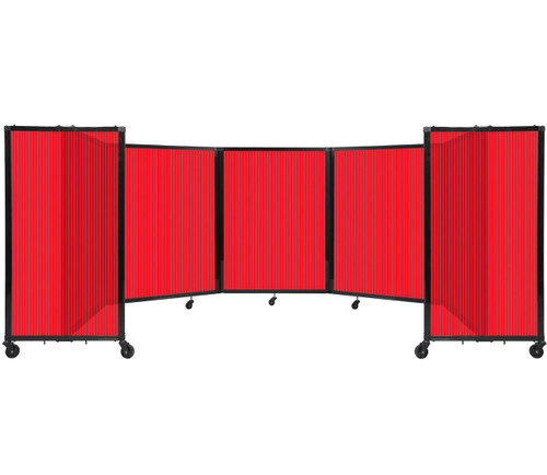Room Divider 360 Folding Portable Partition 14' x 4' Red Fluted Polycarbonate