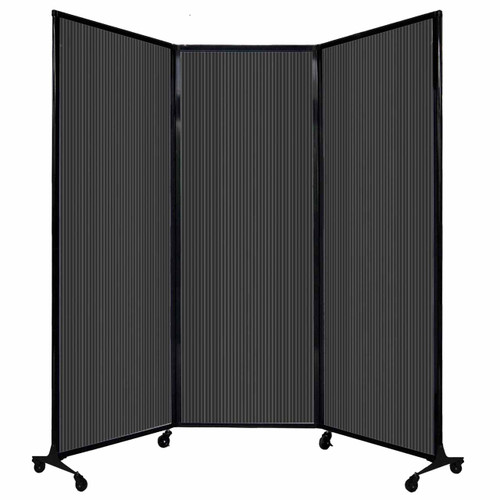"QuickWall Folding Portable Partition 8'4"" x 7'4"" Dark Gray Polycarbonate"