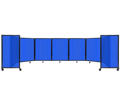 "Room Divider 360 Folding Portable Partition 19'6"" x 4' Blue Fluted Polycarbonate"