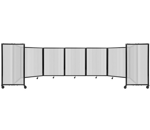 """Room Divider 360 Folding Portable Partition 19'6"""" x 4' Clear Fluted Polycarbonate"""