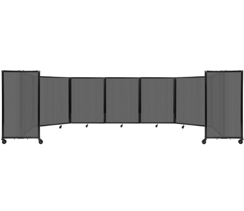 """Room Divider 360 Folding Portable Partition 19'6"""" x 4' Dark Gray Fluted Polycarbonate"""