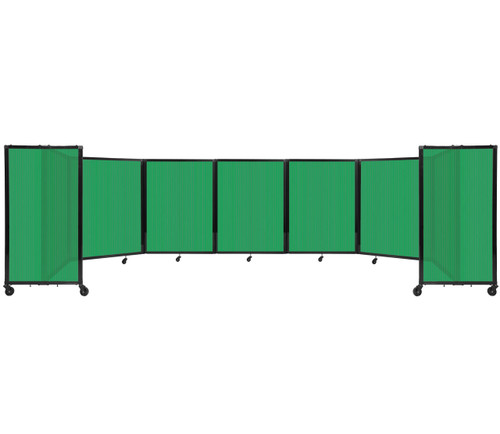 """Room Divider 360 Folding Portable Partition 19'6"""" x 4' Green Fluted Polycarbonate"""