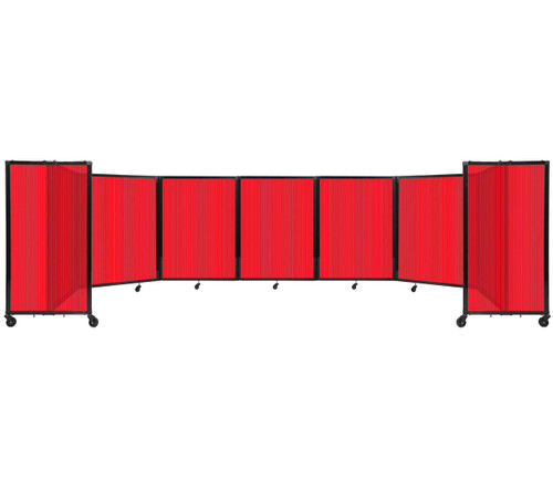 """Room Divider 360 Folding Portable Partition 19'6"""" x 4' Red Fluted Polycarbonate"""