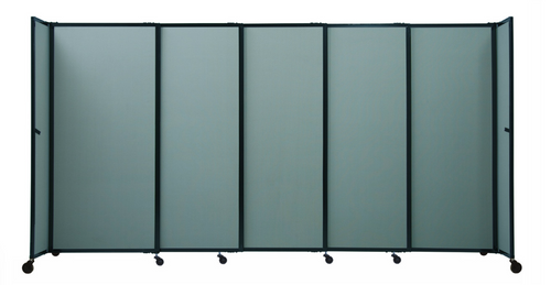 """The Bullet Resistant Portable Shield Partition 19'9"""" x 6'10"""" Cloud Gray Fabric"""