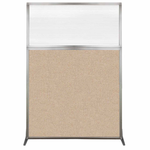Hush Screen Portable Partition 4' x 6' Beige Fabric Clear Fluted Window Without Wheels