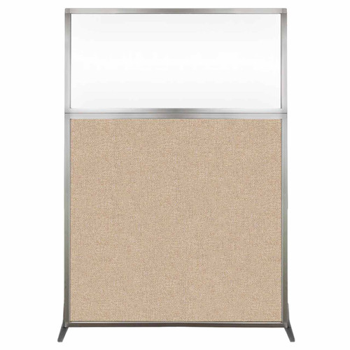 Hush Screen Portable Partition 4' x 6' Beige Fabric Clear Window Without Wheels