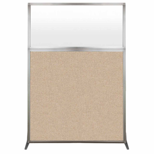 Hush Screen Portable Partition 4' x 6' Beige Fabric Frosted Window Without Wheels