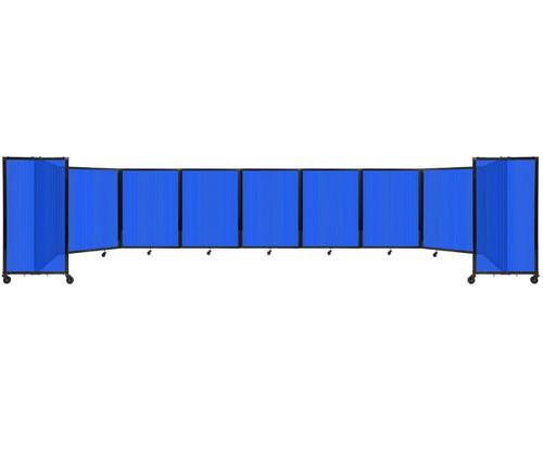 Room Divider 360 Folding Portable Partition 25' x 4' Blue Fluted Polycarbonate