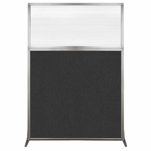 Hush Screen Portable Partition 4' x 6' Black Fabric Clear Fluted Window Without Wheels