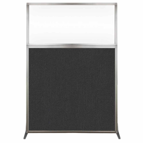 Hush Screen Portable Partition 4' x 6' Black Fabric Clear Window Without Wheels