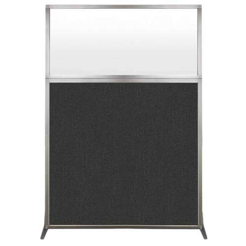 Hush Screen Portable Partition 4' x 6' Black Fabric Frosted Window Without Wheels