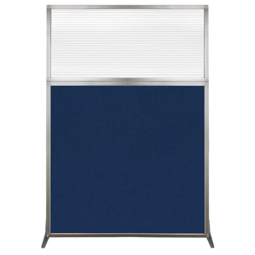 Hush Screen Portable Partition 4' x 6' Navy Blue Fabric Clear Fluted Window Without Wheels
