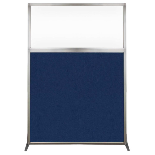 Hush Screen Portable Partition 4' x 6' Navy Blue Fabric Clear Window Without Wheels