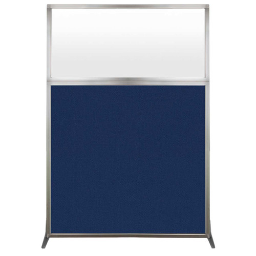 Hush Screen Portable Partition 4' x 6' Navy Blue Fabric Frosted Window Without Wheels