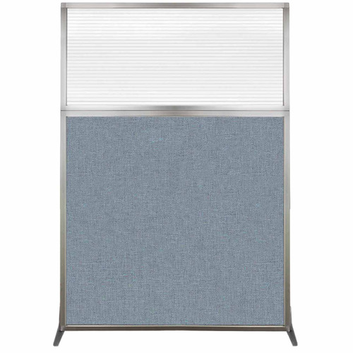 Hush Screen Portable Partition 4' x 6' Powder Blue Fabric Clear Fluted Window Without Wheels