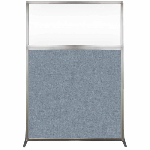 Hush Screen Portable Partition 4' x 6' Powder Blue Fabric Clear Window Without Wheels