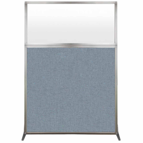 Hush Screen Portable Partition 4' x 6' Powder Blue Fabric Frosted Window Without Wheels