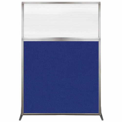 Hush Screen Portable Partition 4' x 6' Royal Blue Fabric Clear Fluted Window Without Wheels