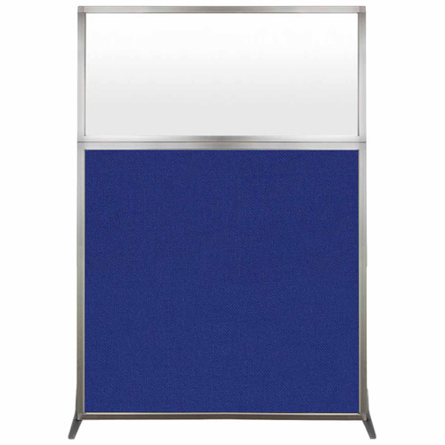 Hush Screen Portable Partition 4' x 6' Royal Blue Fabric Frosted Window Without Wheels