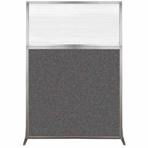 Hush Screen Portable Partition 4' x 6' Charcoal Gray Fabric Clear Fluted Window Without Wheels