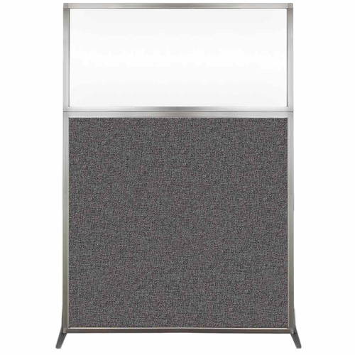 Hush Screen Portable Partition 4' x 6' Charcoal Gray Fabric Clear Window Without Wheels