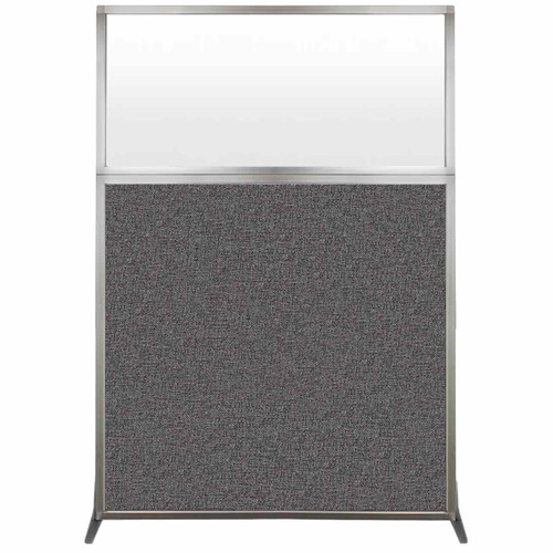 Hush Screen Portable Partition 4' x 6' Charcoal Gray Fabric Frosted Window Without Wheels