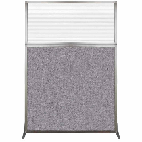 Hush Screen Portable Partition 4' x 6' Cloud Gray Fabric Clear Fluted Window Without Wheels