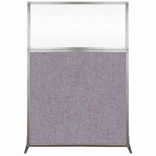 Hush Screen Portable Partition 4' x 6' Cloud Gray Fabric Clear Window Without Wheels