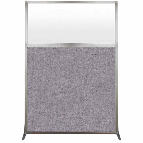 Hush Screen Portable Partition 4' x 6' Cloud Gray Fabric Frosted Window Without Wheels
