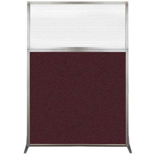 Hush Screen Portable Partition 4' x 6' Cranberry Fabric Clear Fluted Window Without Wheels