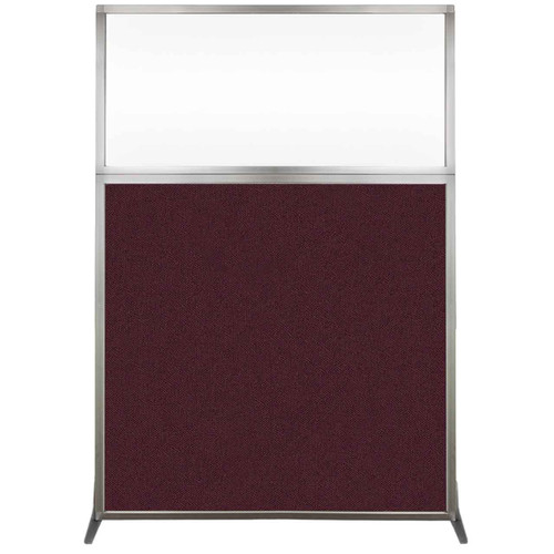 Hush Screen Portable Partition 4' x 6' Cranberry Fabric Clear Window Without Wheels