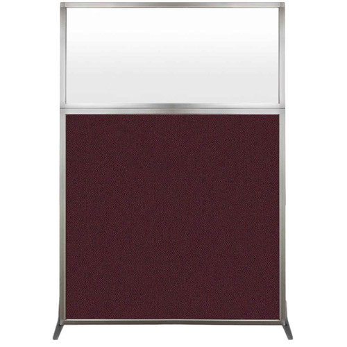 Hush Screen Portable Partition 4' x 6' Cranberry Fabric Frosted Window Without Wheels