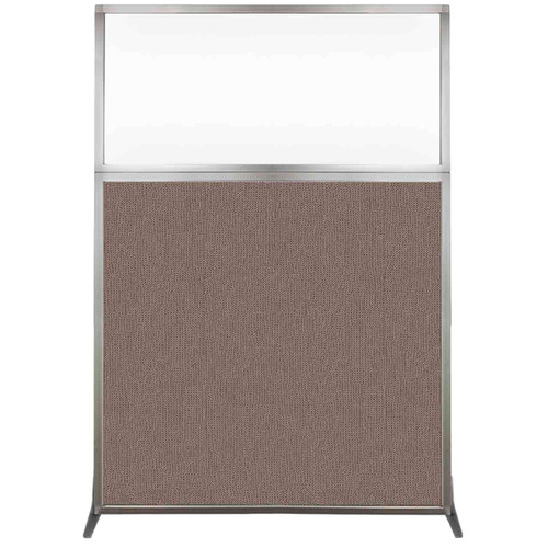 Hush Screen Portable Partition 4' x 6' Latte Fabric Clear Window Without Wheels