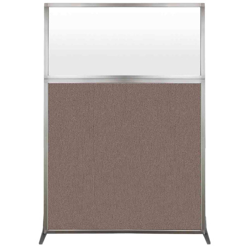 Hush Screen Portable Partition 4' x 6' Latte Fabric Frosted Window Without Wheels