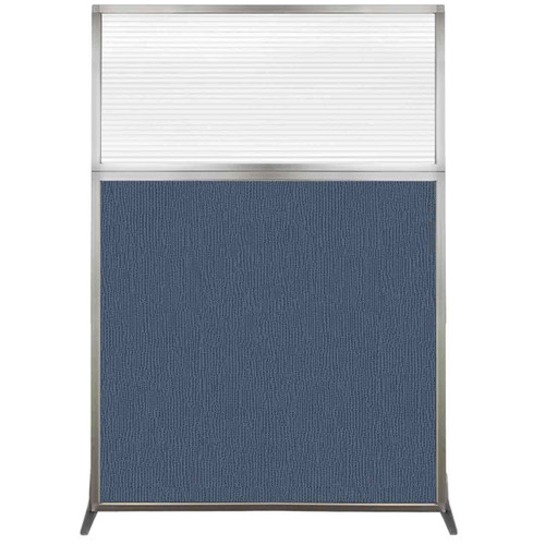 Hush Screen Portable Partition 4' x 6' Ocean Fabric Clear Fluted Window Without Wheels