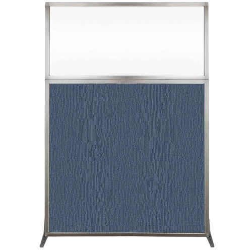 Hush Screen Portable Partition 4' x 6' Ocean Fabric Clear Window Without Wheels