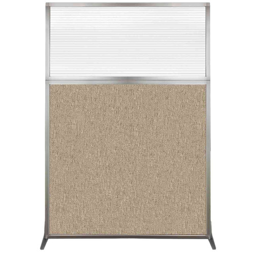 Hush Screen Portable Partition 4' x 6' Rye Fabric Clear Fluted Window Without Wheels