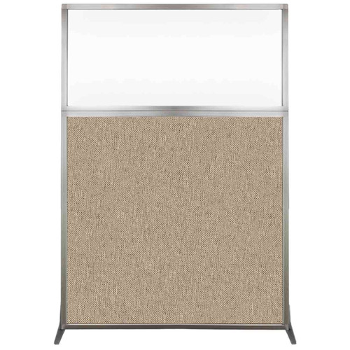 Hush Screen Portable Partition 4' x 6' Rye Fabric Clear Window Without Wheels