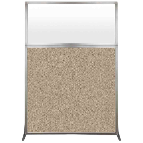 Hush Screen Portable Partition 4' x 6' Rye Fabric Frosted Window Without Wheels