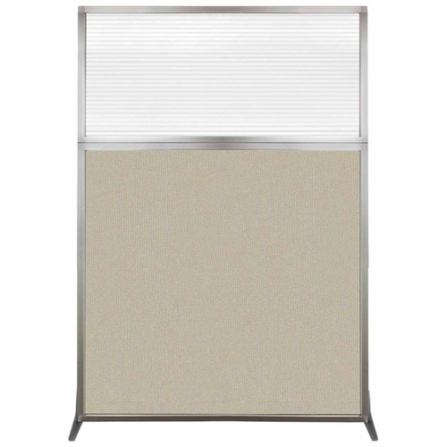 Hush Screen Portable Partition 4' x 6' Sand Fabric Clear Fluted Window Without Wheels