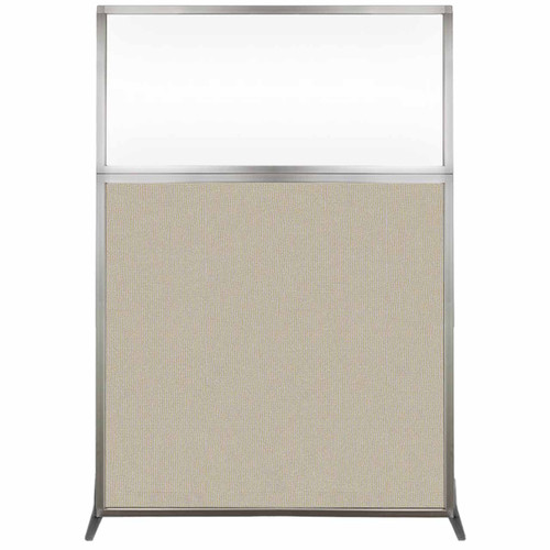 Hush Screen Portable Partition 4' x 6' Sand Fabric Clear Window Without Wheels