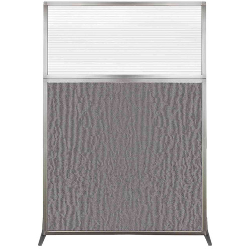 Hush Screen Portable Partition 4' x 6' Slate Fabric Clear Fluted Window Without Wheels