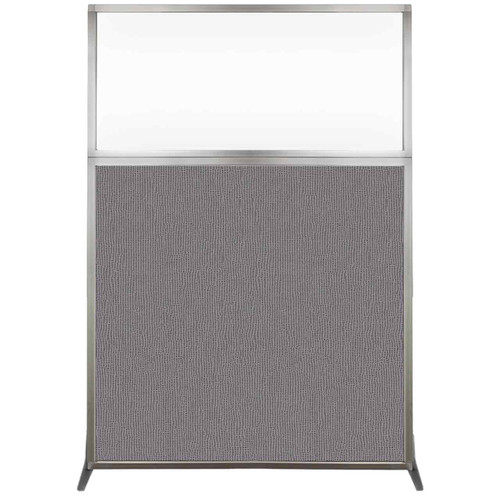 Hush Screen Portable Partition 4' x 6' Slate Fabric Clear Window Without Wheels