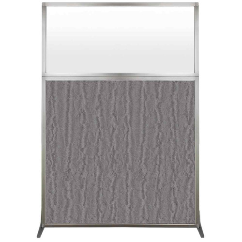 Hush Screen Portable Partition 4' x 6' Slate Fabric Frosted Window Without Wheels