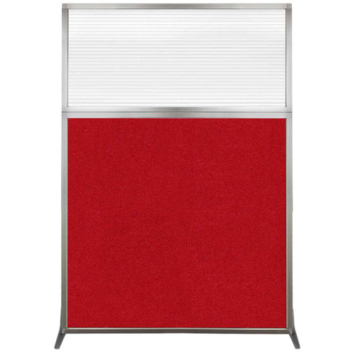 Hush Screen Portable Partition 4' x 6' Red Fabric Clear Fluted Window Without Wheels