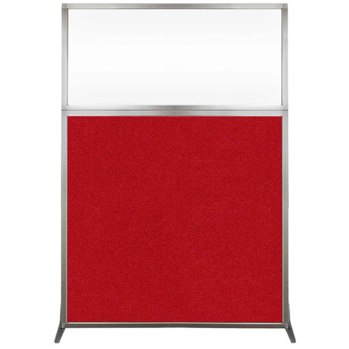 Hush Screen Portable Partition 4' x 6' Red Fabric Clear Window Without Wheels