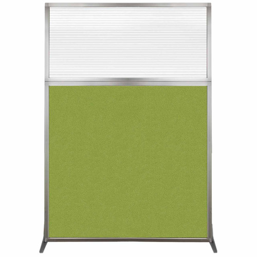 Hush Screen Portable Partition 4' x 6' Lime Green Fabric Clear Fluted Window Without Wheels