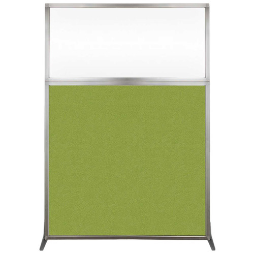 Hush Screen Portable Partition 4' x 6' Lime Green Fabric Clear Window Without Wheels